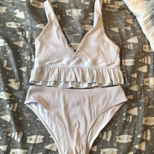 White ruffle bathing suit